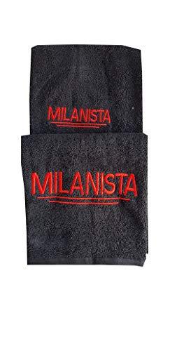 Trama Toscana Coppia Spugna del Tifoso Milanista 1 Viso cm 60x110+ 1 Ospite cm 35x53 in Cotone 100% con Ricamo