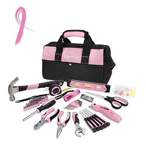 WORKPRO Werkzeugset Rosa Reparaturset Aufbewahrungstasche mit weitem Maul 75-teilig für Lady und Rosaliebende