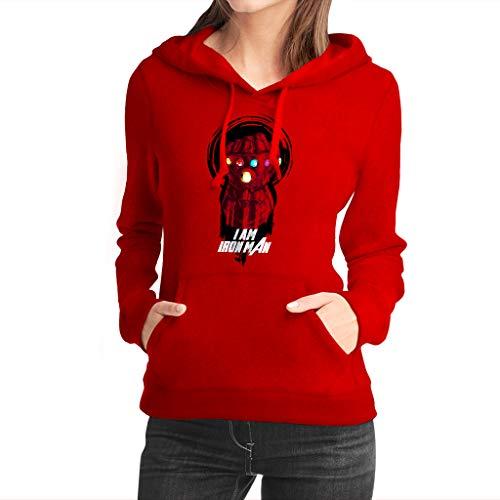 Fanta Universe I Am Iron Man - Sudadera con Capucha Mujer - 50% Algodón (L, Rojo)