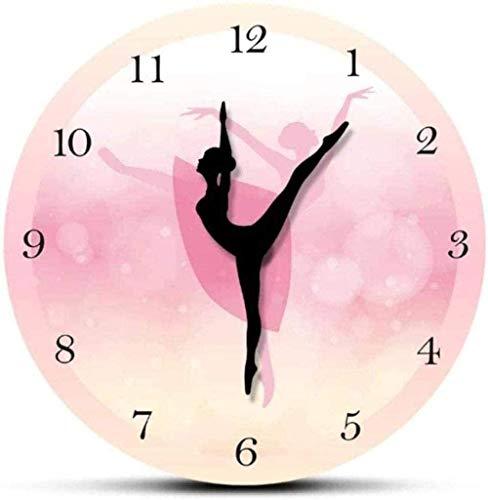 Orologio Da Parete Orologio Da Parete Ballerino Di Danza Classica Con Numeri Arabi Decorazioni Per Camera Da Letto Per Ragazze Orologio Da Parete Rosa Principessa Danza Wall Art Ballerina Orologio Con