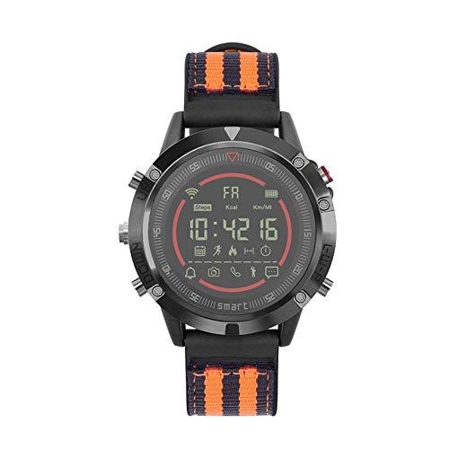 FQDQH Inteligente Reloj de los Deportes, Reloj de los Pares, multifunción (Color : Black Orange - Nylon)