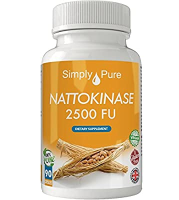New - Exclusive to Amazon - Simply Pure - 90 Nattokinase Capsules - High Strength (500mg) - 100% Natural - Gluten Free - Vegan - Moneyback Guarantee