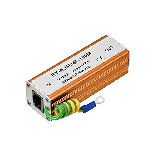 N A Ethernet Surge Protector for 10 100M Base-T Gigabit Modem Thunder Lightning Protection Golden 83 x 28 x 25 mm