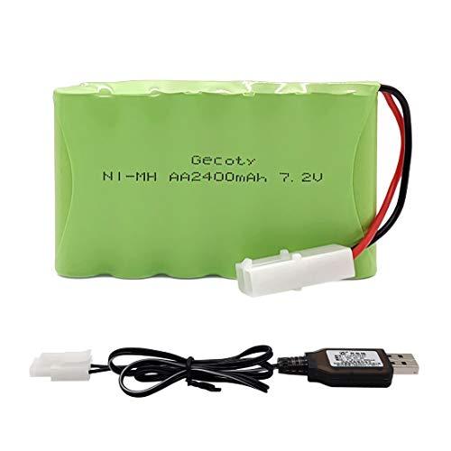 Gecoty® Batería AA Recargable Ni-MH 7.2V 2400 mAh con Cable de Carga USB y Enchufe Tamiya para Juguetes de Control Remoto, iluminación, Herramientas eléctricas, electrodomésticos
