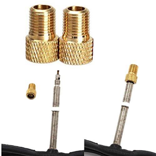 QHJ Ventilkappen Fahrrad, 2 Stück Messing Adapter Presta Zu Schrader Fahrradventil Converter Bike Pump Connector (Gold)