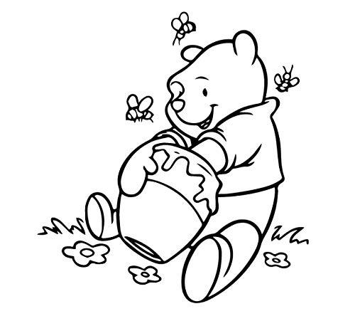 Schattige beer zittend op het gras houden suiker pot honing waterdichte muur Stickers Home Decor slaapkamer Kids kamer woonkamer kerstcadeau 30 * 32cm