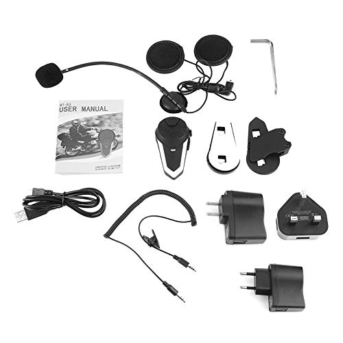 Gorgeri Motorcycle Wireless Bluetooth Intercom Headset, Motorcycle Communication Headset Bt Intercom Manos libres, para pasajeros, pasajeros o dos bicicletas separadas, hasta 800-1000 metros(EU Plug)