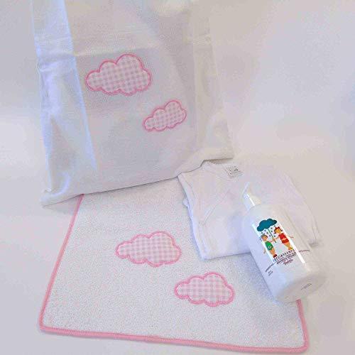 Kit lanière bébé hôpital petite fille fille avec sac à langer serviette body bébé bain mousse bio