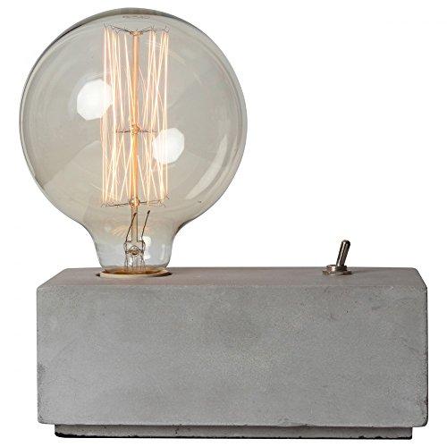 Design-Tischleuchte Tischlampe Beton-Quader als Fuß mit Metall-Schalter