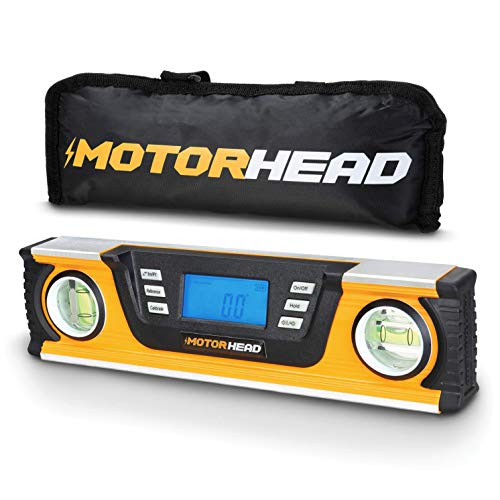 MOTORHEAD 10-Inch 0° - 180° SMART DIGITAL Level, LCD Screen, Audible Alerts, Water, Dust & Shock Resistant, Magnetic Bottom, Includes Bag, High-Visibility, Solid-Milled Aluminum, USA-Based Support