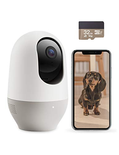 Nooie Dog Camera with Phone App, WiFi Pet Camera with SD Card, Indoor Home Security Camera for Pet/Baby/Nanny, with AI Tracking, IR Night Vision, Works with Alexa, 2-Way Audio (IPC100+SD)