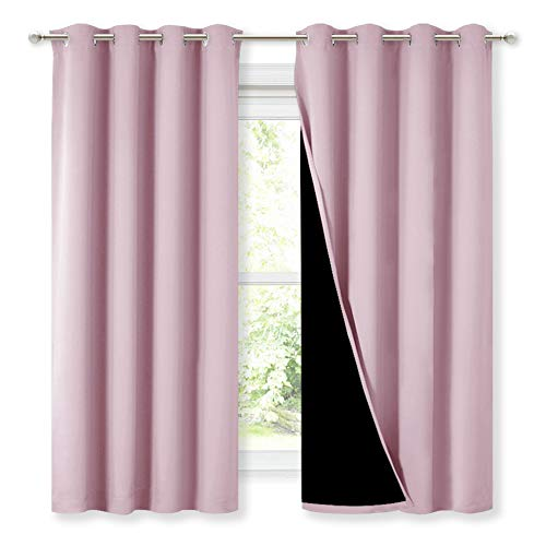 NICETOWN 100% Blackout Lined Curtains, Totally Darkness Drapes, Thermal Insulated Drapes for Daughters Nursery (Lavender Pink, 1 Pair, 52 inches Width x 63 inches Length Each Panel)