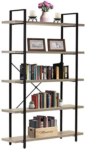SUPERJARE 5-Tier Industrial Bookshelf, Open Bookcase with Metal Frame, Vintage Book Shelf, Storage Display Shelves for Home Office, Wood Grain - Light Walnut