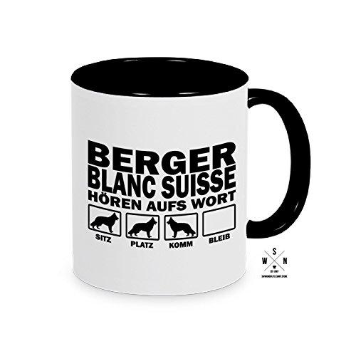 Tasse Kaffeebecher BERGER BLANC SUISSE Hören aufs Wort Hund Hunde fun Siviwonder schwarz