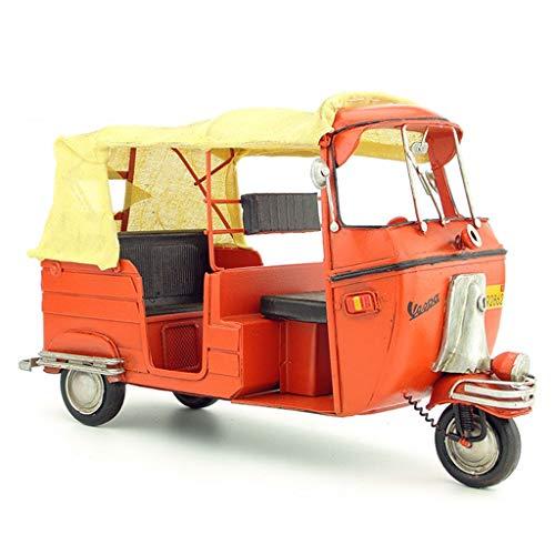 LINGLING-Modell Metall Retro Modell Dekoration Vintage Schmiedeeisen Modell Wohnaccessoires Handwerk Taxi Dreirad Motorrad (Color : Orange)