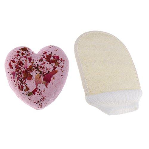 chiwanji Bubble Bath Salt Boule à Bombe à Huile Essentielle + Loofah Bath Shower Scrubber Glove