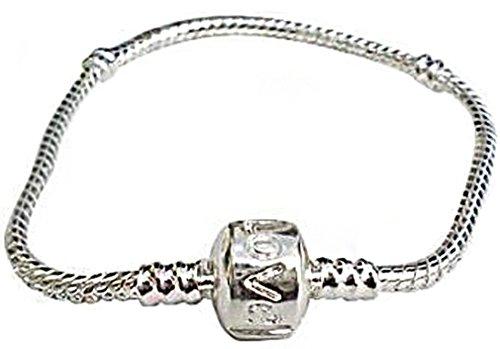 AlphaAcc Believe Beads - Braccialetto Placcato Argento, 20 cm, per Charm scorrevoli e Placcato Argento, cod. Pandor-brace-002-16cm-VBAG