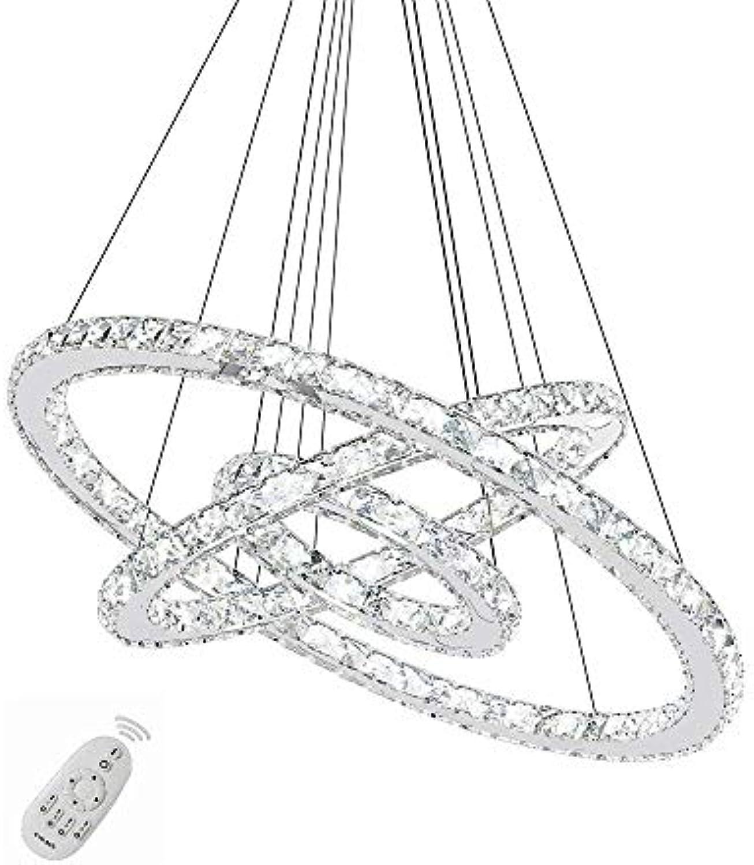 96W LED Kristall Design Hngelampe Deckenlampe Pendelleuchte Kreative Kronleuchter Drei Ringe Dimmbar Lüster (96W Dimmbar)