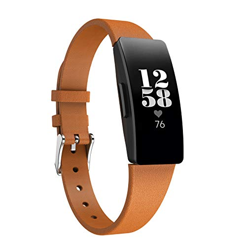 Angersi Correa Compatible con Fitbit Inspire 2 Correa,Piel Genuina Correa Accesorios de Repuesto Wristband Compatible con Fitbit Inspire/Inspire HR/Ace 2 Mujeres Hombres