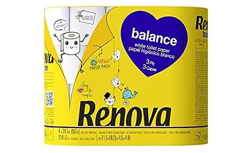 Renova Papel Higiénico Balance 3 Capas - 4 Rollos Envueltos en papel Sin Plásticos
