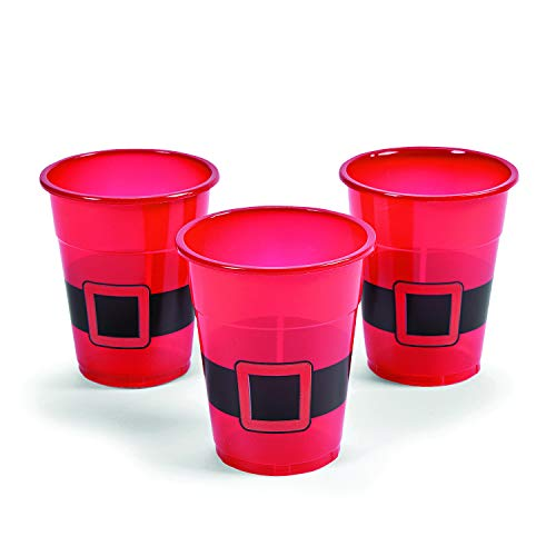 Fun Express Santa Disposable Plastic Cups (50 Cups) Holiday Party Supplies, Drinkware, Favor Cups, Treat Holders, Ugly Christmas Sweater Party Accessories