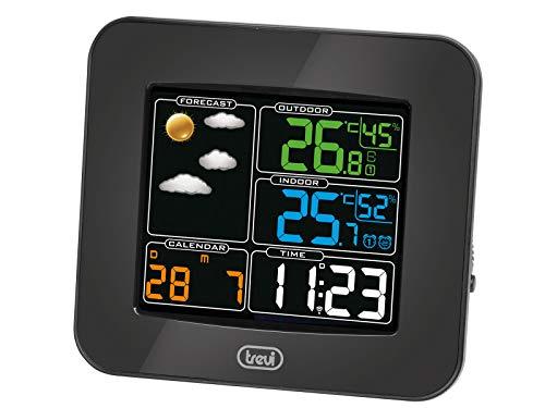 Trevi ME 3165 RC Stazione Meteo con Display a Colori Radiocontrollato e Sensore Esterno Senza Fili, Termometro, Umidità, Due Sveglie, Funzione Snooze