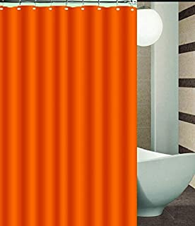 BH Home Mildew Free Polyester Fabric Water Repellent Shower Curtain Liner Orange