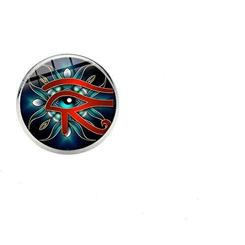 CLEARNICE Ojo De Horus Broche Egipcio Vidrio Redondo Insignia De Acero Inoxidable Mochila Sombrero Pin Classic Eye Rune Accesorios De Ropa Regalos Cabujón De Vidrio 16 Mm