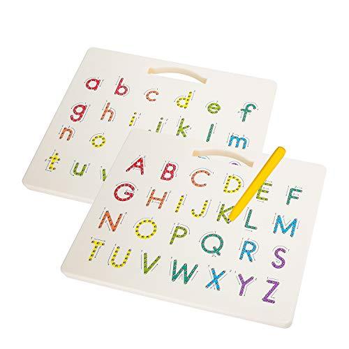 Hautton Tablero Magnético de Abecedario para Niños, Letras de A a Z Ambos Lados Reversible Mayúscula/Minúscula, Juguete Educativo Aprendizaje Temprano Escritura de Alfabeto para Pequeños Preescolares