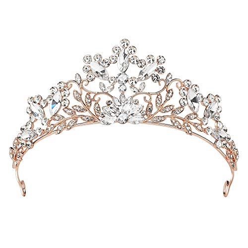 SWEETV Rose Gold Wedding Tiara, Crystal Tiaras and Crowns for Women, Princess Crown for Birthday Party Prom