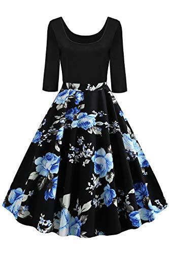 AXOE Damen 50er Jahre Kleid Rockabilly Vintage Festkleid 3/4 Ärmel Farbe 13, Gr.50, 4XL
