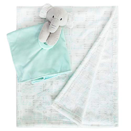 Baby Blanket Plush Fleece with Security Blanket Snuggler Stuffed Animal Loveys for Boys and Girls, Blue Elephant