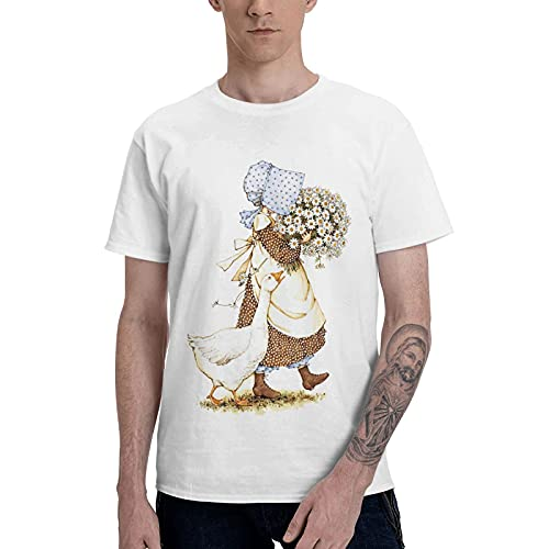 COOTHING Holly Holly Hobbie Blue Man s Novelty Simple Printed Basic Light Weight White Tees Costume