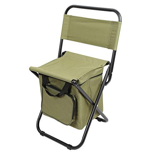 YTXR Best Camping Chairs Outdoor Folding Backrest Camping Fishing Chair Stool Portable Backpack with Cooler Insulated Picnic Bag Hiking Seat Bag (Color : Green)