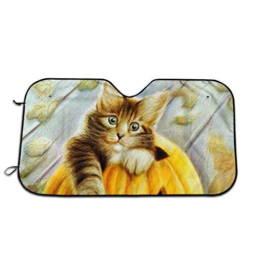 NHJMH Cats Painting Art Halloween Kürbis Auto Windschutzscheibe Sonnenschutz Auto Sonnenschirm UV Sonnen- und Wärmereflektor