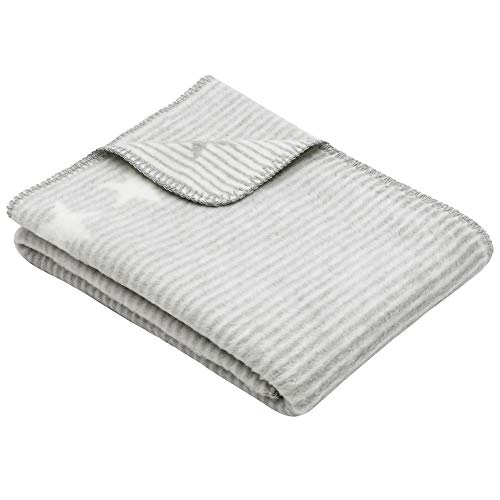 Ibena Lelu Kinderdecke 75x100 cm – Babydecke grau wollweiß mit Streifen und Sternen, hoher Baumwollanteil kuschelig weich und angenehm warm