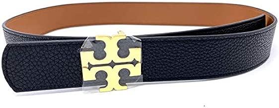 Tory Burch Women's Reversible Logo Belt 1 1/2'' Leather, Black/Classic Tan (S)