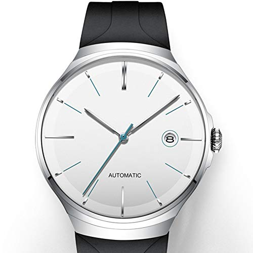 HFM Herrenuhr Ultradünne automatische mechanische Uhr Kalenderanzeige Perspektive Bodenabdeckung 50 m wasserdicht Modetrend Einfache Herrenuhr,Weiß