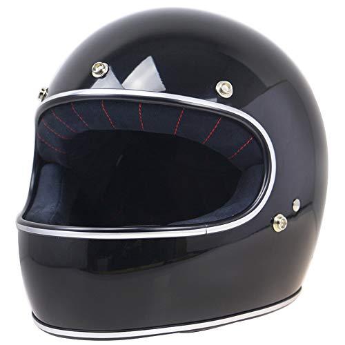 Cycling fox Professioneller Motorradhelm, Erwachsener Offroad FRP Retro Harley Helmfahrer Vollhelm ECE-zertifizierter Schutzhelm,L