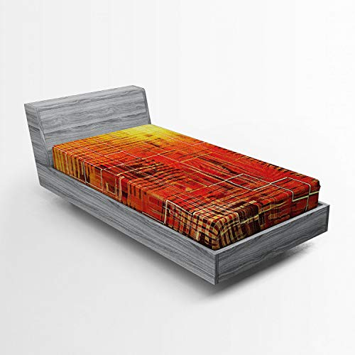 Ambesonne Burnt Orange Fitted Sheet, Modern Mosaic Art Texture with Small Frames and Lines Fall Illustration, Soft Decorative Fabric Bedding All-Round Elastic Pocket, Twin XL Size, Orange Yellow