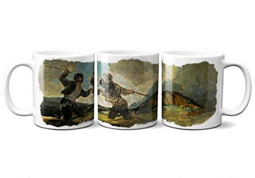 Planetacase Taza Goya Duelo a Garrotazos Pintura Arte Ceramica 330 mL