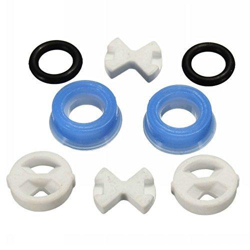 Ungfu Mall - 8 pezzi di ricambio, disco in ceramica sigillato invertito e inserto di guarnizione in silicone per valvola e rubinetto