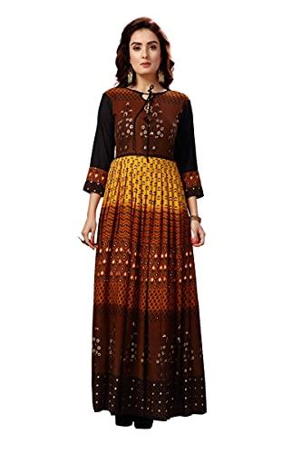madhuram textiles Women's Rayon Anarkali Printed Kurta, 3/4 Sleeve Fully Stitched Women Long Kurti Everyday Wear Comfortable Party and Ethnic Wear