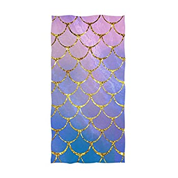 Naanle Chic Magic Colors Mermaid Fish Scales Print Soft Absorbent Large Hand Towels Multipurpose for Bathroom Hotel Gym and Spa  16  x 30 ,Floral