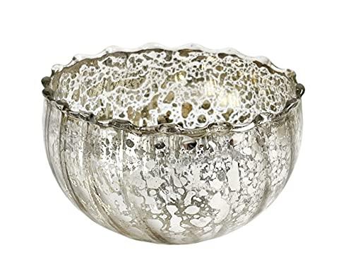 itsisa Glas Schwimmschale rund Silber, D: 6cm - Schwimmkerzen, Tischdeko, Teelichthalter