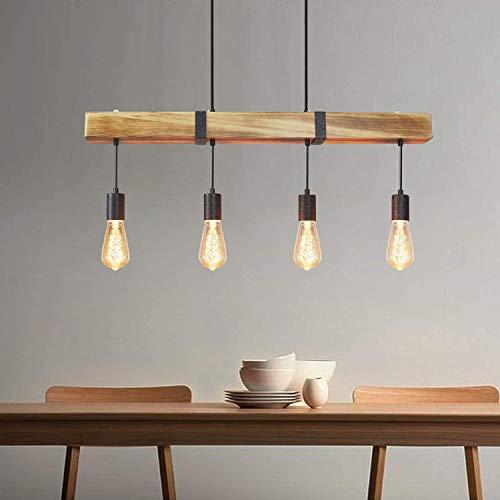 Feuilles - Lámpara colgante de madera para mesa de comedor, estilo retro, con barra de madera de 80 cm, 4 bombillas E27, altura regulable, lámpara industrial para comedor, cocina, salón, restaurante
