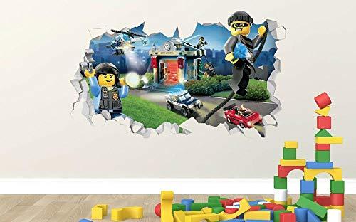 Vinilo decorativo para pared, diseño de ladrón de policía de la ciudad