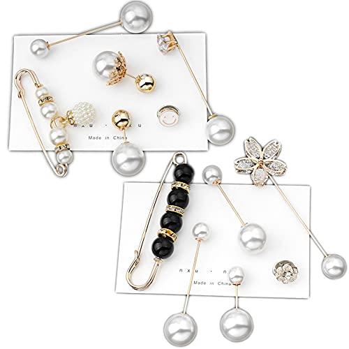 Broche Doble Perla Broche Seguridad Con Perlas Para Mujer Clip De Chal...