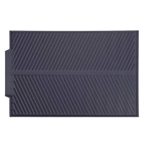Salvamanteles de silicona, rectangular Estera de drenaje de silicona Platos de secado Almohadilla Antideslizante Bandeja(gris)