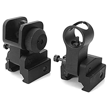 Iron Sights Ghost Ring Hooded Front and Rear Flip Up Back up Tactical Rifle Sight Set